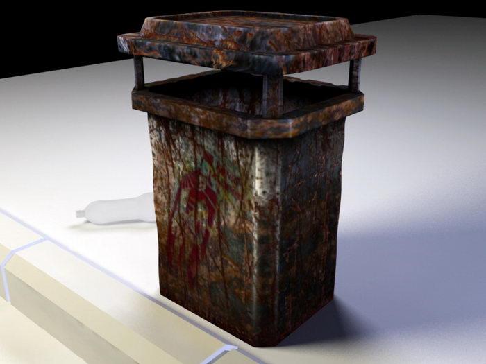 Rusty Metal Trash Can 3d rendering