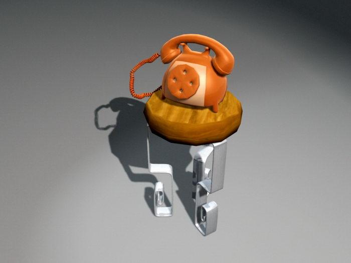Cartoon Telephone 3d rendering