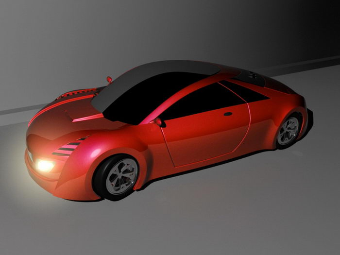 Red Sports Car 3d rendering