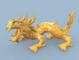 Golden Dragon Statue 3d preview