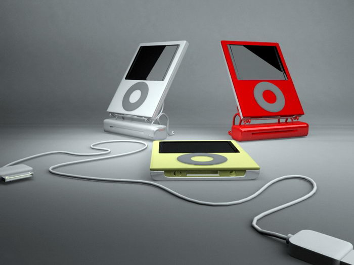 Touch Screen MP3 Players 3d rendering