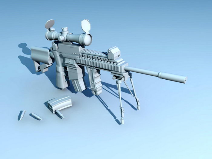 Assault Rifle with Magazine 3d rendering