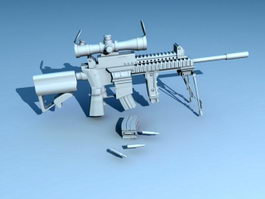 Assault Rifle with Magazine 3d model preview
