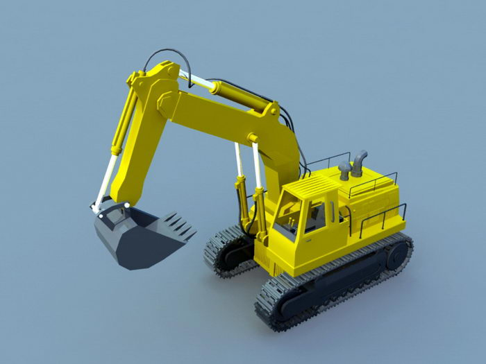 Animated Excavator 3d rendering