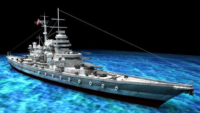 WW2 Bismarck-class Battleship 3d rendering