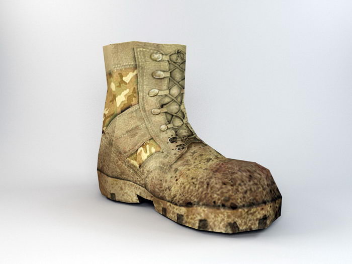 Old Army Boots 3d rendering