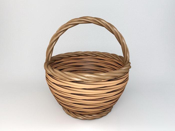Round Rattan Basket 3d rendering