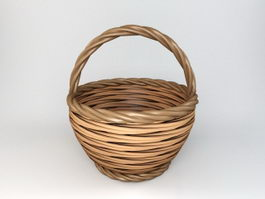 Round Rattan Basket 3d preview