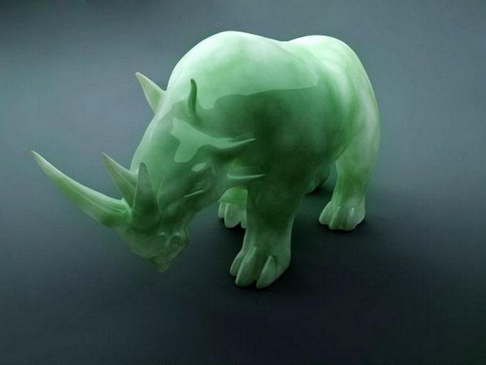 Jade Dinosaur Triceratops 3d rendering