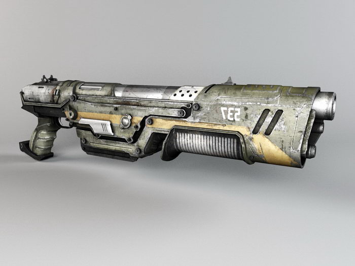 Sci-Fi Shotgun 3d rendering