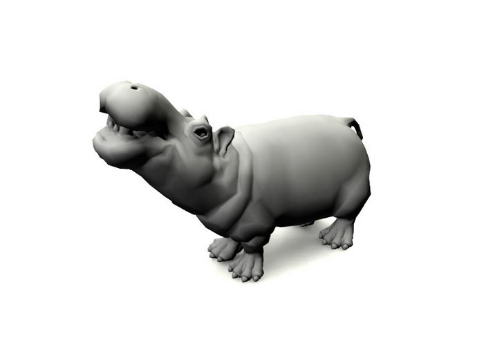 Animated Hippo Rig 3d rendering