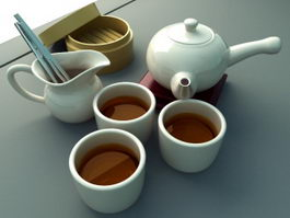 Traditional Chinese Tea Set 3d preview