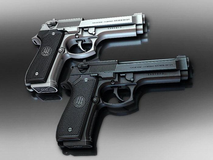Beretta Pistol 3d rendering