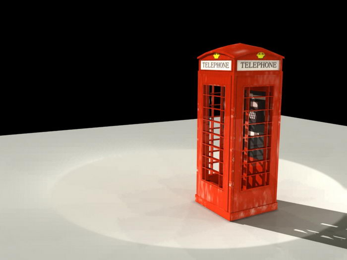 Vintage Telephone Booth 3d rendering