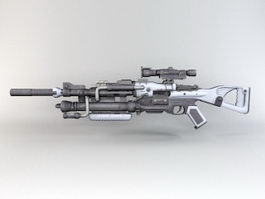 Steampunk Sniper Rifle 3d model preview