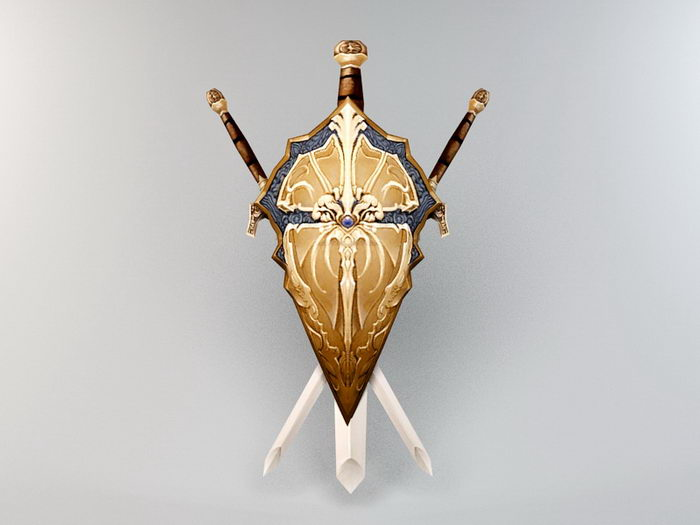 Shield and Sword 3d rendering