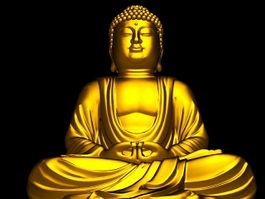 Gold Buddha Statue 3d preview