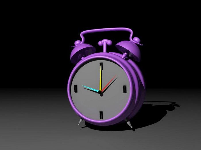 Purple Alarm Clock 3d rendering