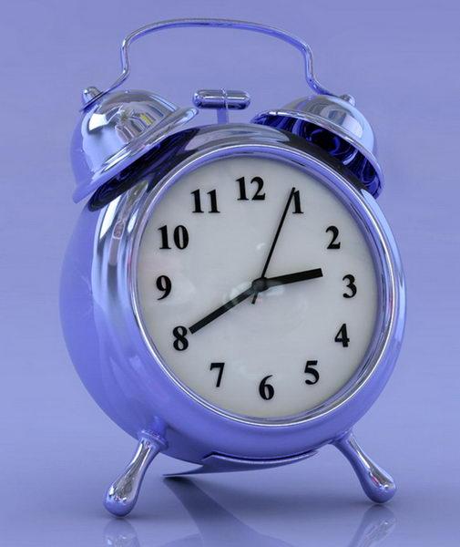 Blue Alarm Clock 3d rendering