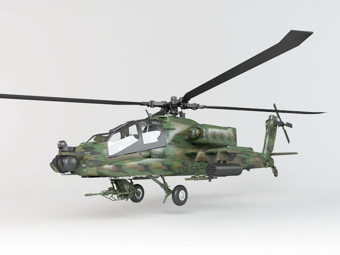 Army Apache Helicopter 3d rendering