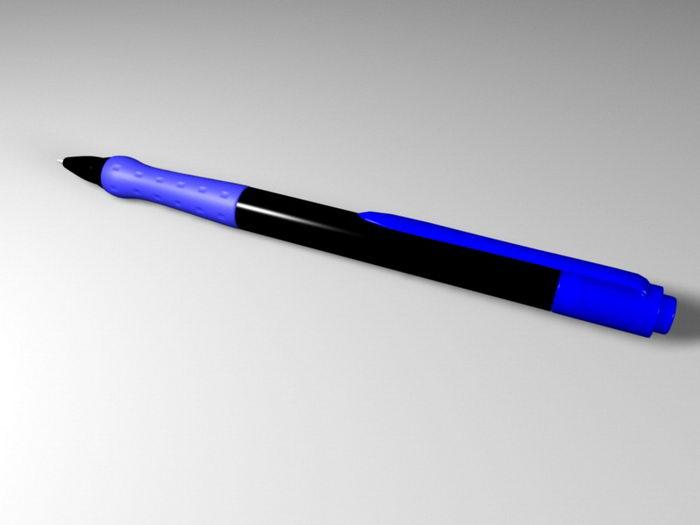 Blue Ballpoint Pen 3d rendering