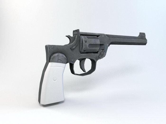 Vintage Revolver Gun 3d rendering
