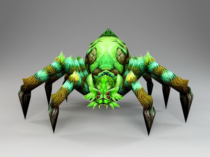 Green Spider Monster 3d rendering