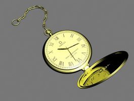 Omega Gold Pocket Watch 3d preview