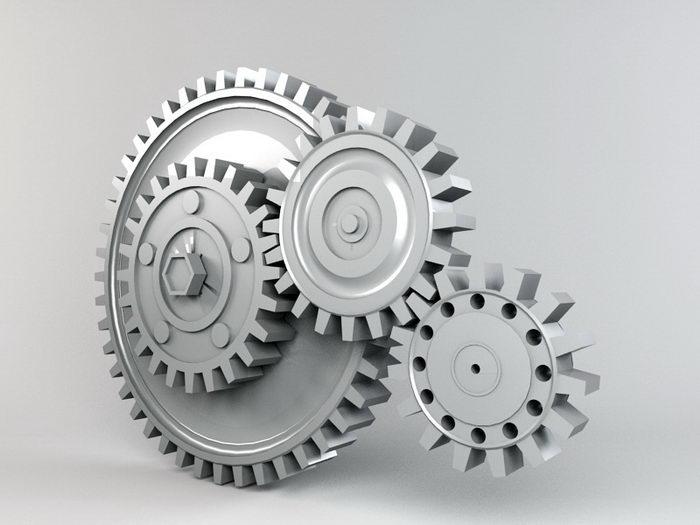 Arrangement Of Gears 3d rendering