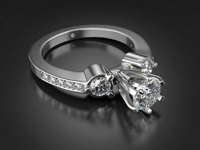 Diamond Wedding Ring 3d rendering