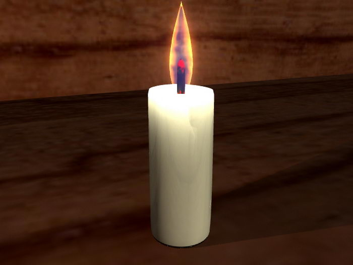 Animated Candle Flame 3d rendering