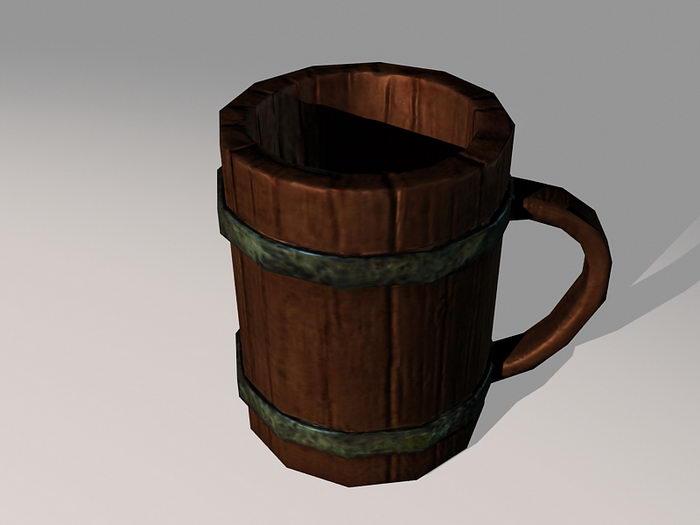 Medieval Wooden Beer Mug 3d rendering