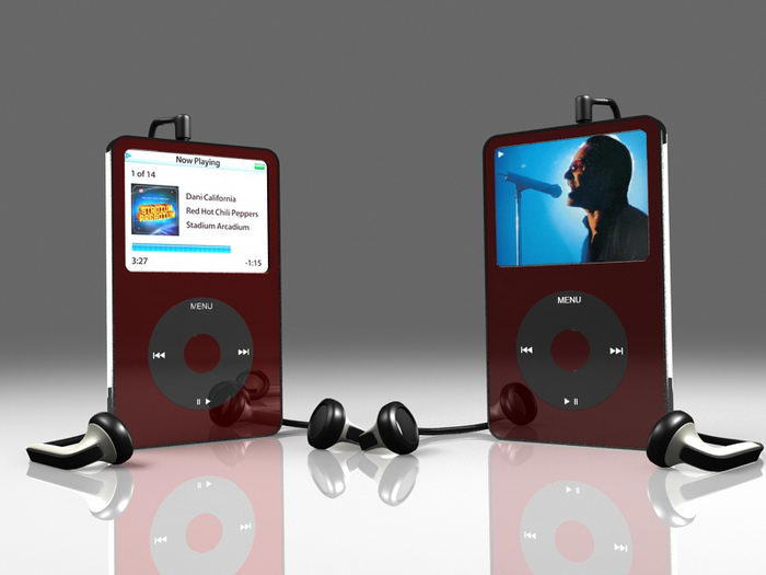 iPod Portable Media Player 3d rendering