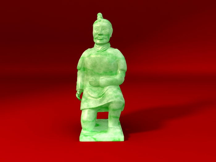 Jade Terracotta Soldier 3d rendering