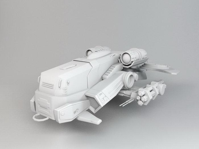 Sci-Fi Gunship Concept 3d rendering