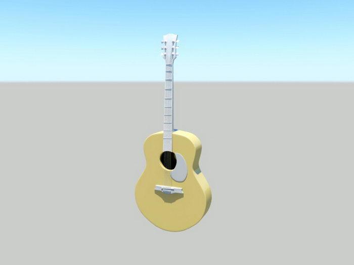 Acoustic Guitar 3d rendering
