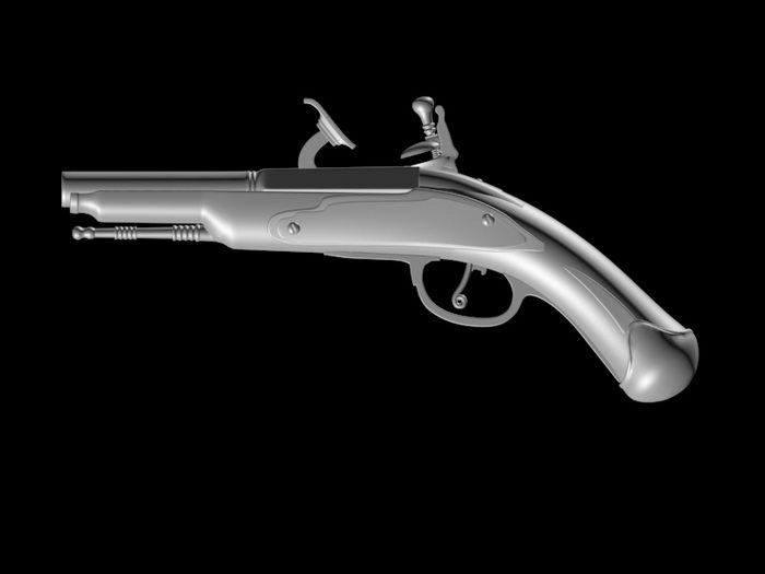 Flintlock Pistol 3d rendering