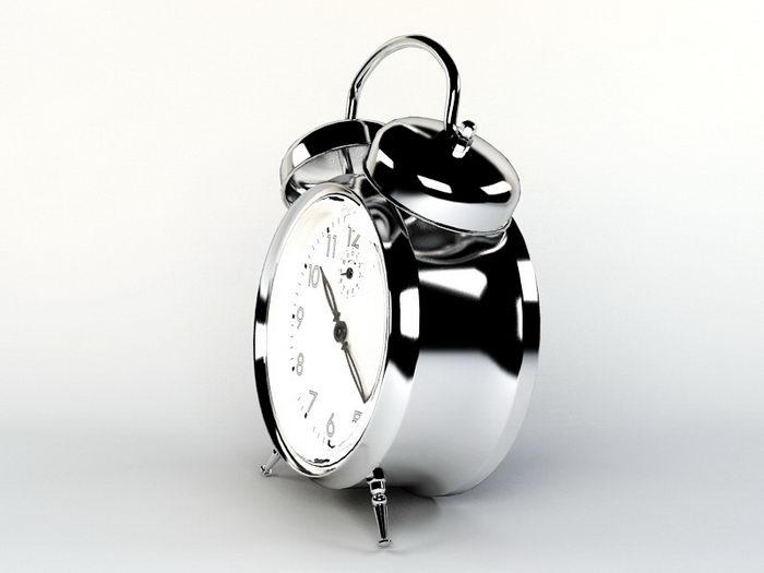 Silver Alarm Clock 3d rendering