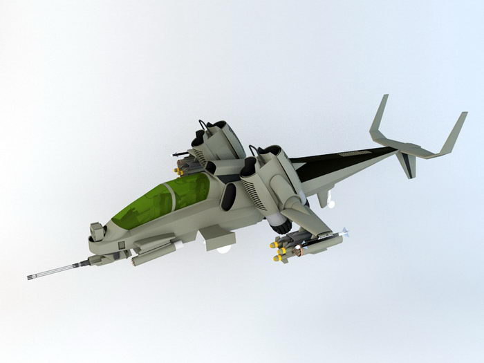 Sci Fi Hover Helicopter 3d rendering