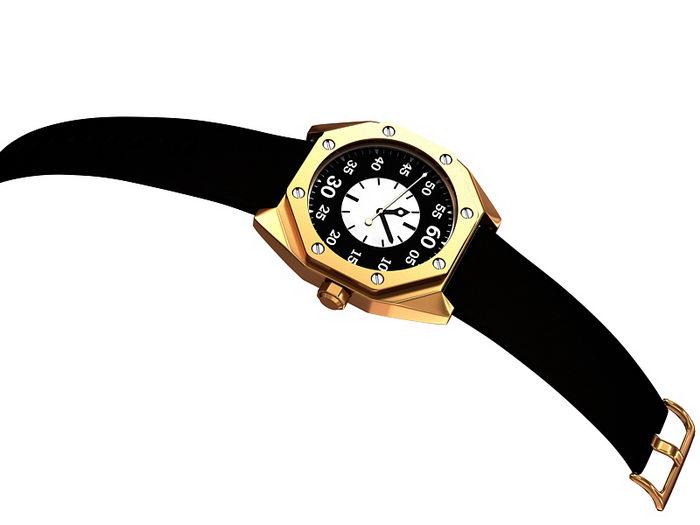 Black Gold Watch 3d rendering