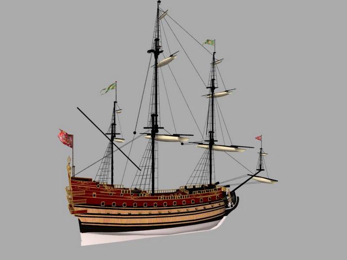 Spanish Galleon Warship 3d rendering