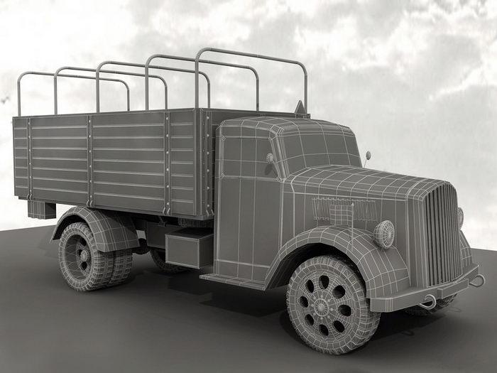 WW2 German Army Truck 3d rendering
