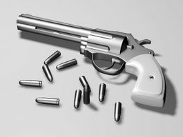 Revolver & Bullets 3d model preview