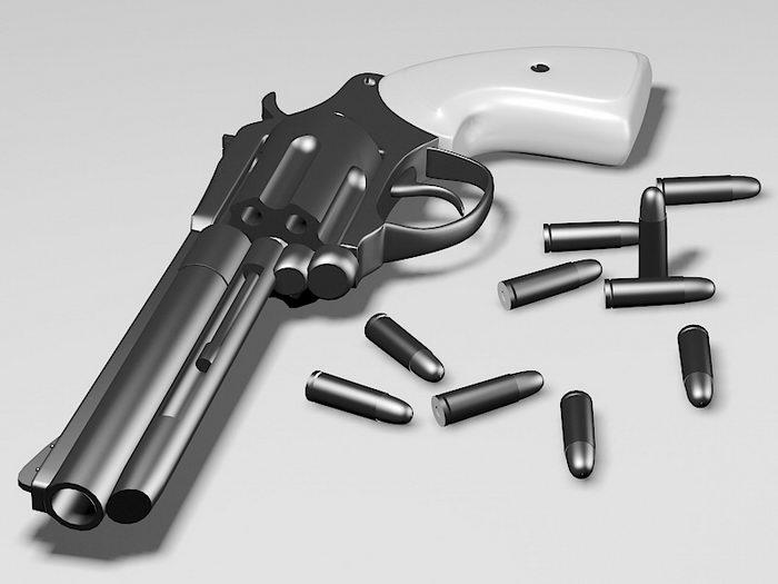 Revolver & Bullets 3d rendering