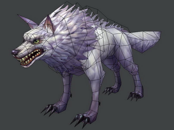 Anime White Wolf 3d rendering