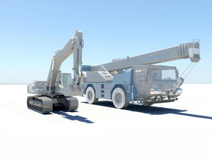 Excavator and Crane 3d rendering