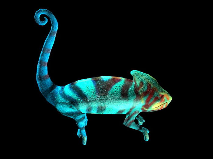 Blue Chameleon 3d rendering