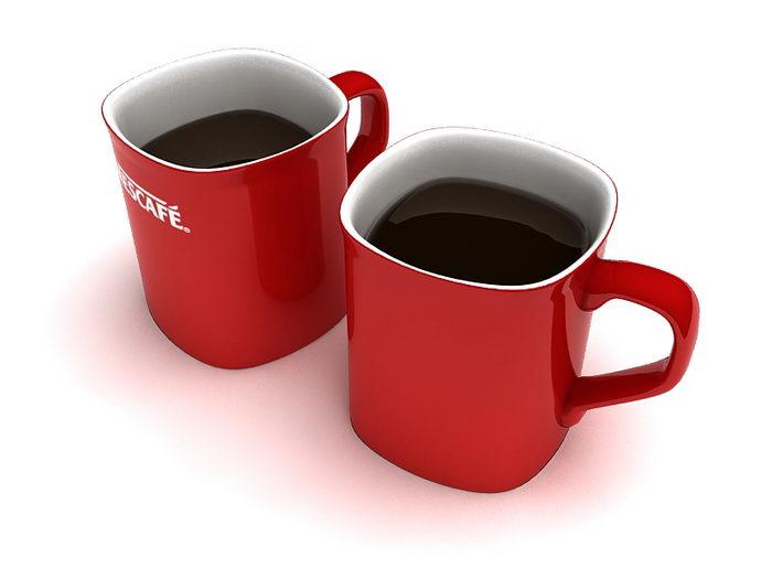 Nescafe Red Mugs 3d rendering