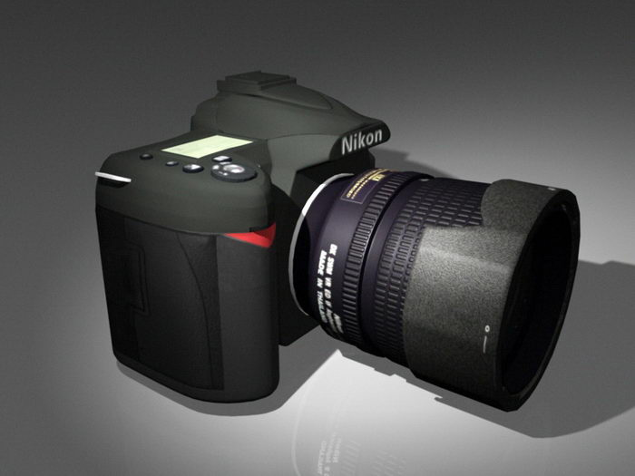 Nikon D90 DSLR 3d rendering