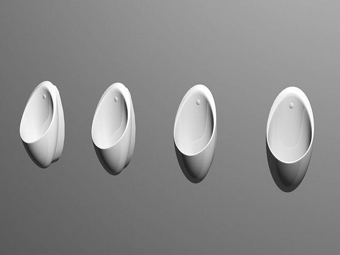 Arrangement of Urinals 3d rendering